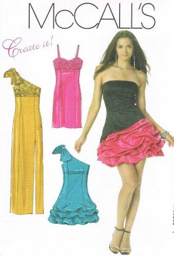 MCCALLS #6283 Uncut Sz 6-12 Prom/Evening Dress; 3 Bodice & Skirt Variations