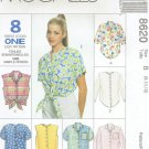 MCCALLS #8620 Uncut Sz 8-12 Sleeveless, Long or Short Sleeve Shirts Sewing Pattern
