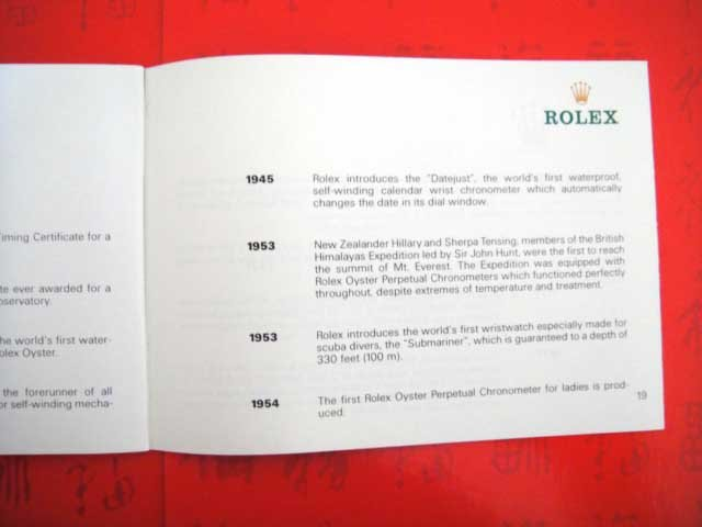 Vintage 1988 ROLEX Your Rolex Oyster English Booklet