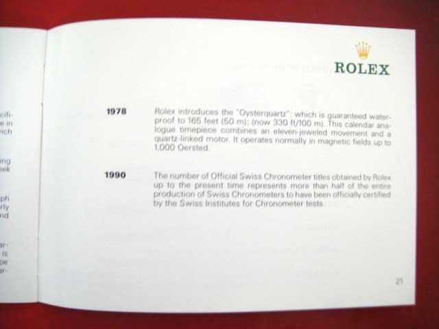 Vintage 1990 ROLEX Your Rolex Oyster English Booklet