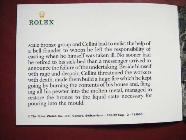 Vintage 1990 ROLEX CELLINI English Booklet