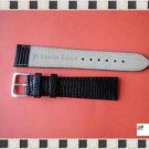 19mm Lizard-Grain Black Leather Mens Watch Band Strap Fit For Rolex Tudor Omega