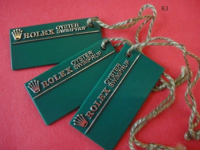 Vintage 3 ROLEX OYSTER  SWIMPRUF HANG TAGS with square edges & BIG CROWN