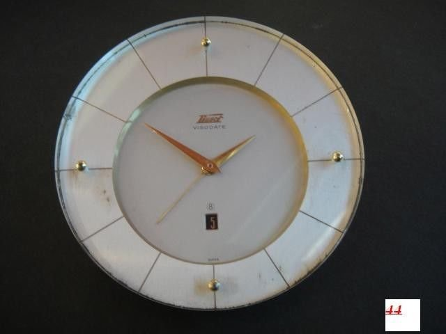 60's TISSOT-VISODATE 8 days GOLD PLATED ALARM DESK CLOCK  with DATE good working