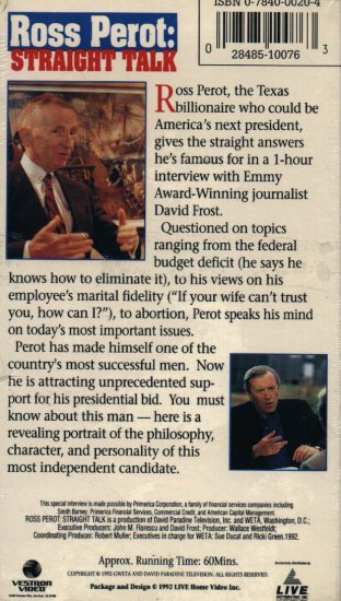 Ross Perot - Straight Talk  VHS SCREENER NEW! #2388