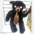 "Black Bear Plush 28"" Geek Teddy w Glasses_ Original Dee Zick OOAK Stuffed vtg"