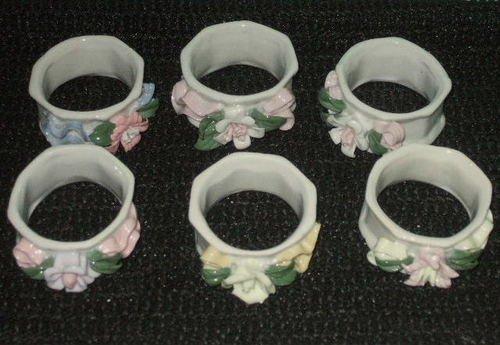 Floral Ceramic Napkin Rings Pastel Flowers