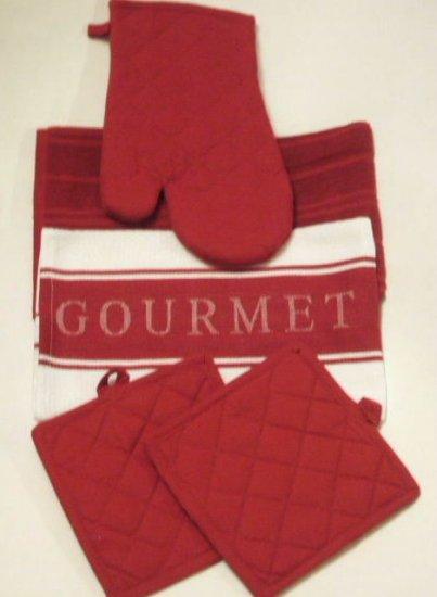 Red Kitchen Linens Towels Mitt Pot Holders