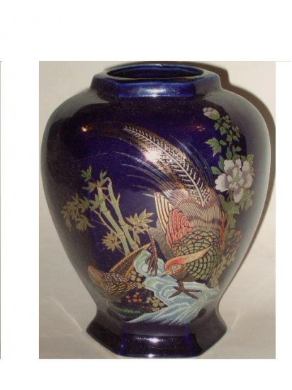 Blue Asian Vase Bamboo Shoots and Birds