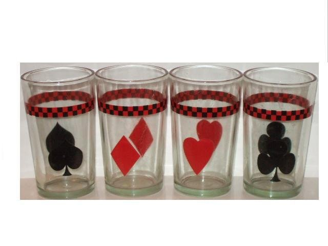 Poker Glasses Hearts Diamonds Clubs Spades Card Kitchen Decor