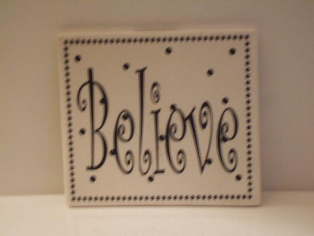 Believe Inspirational Wall Plaque Ceramic Tile