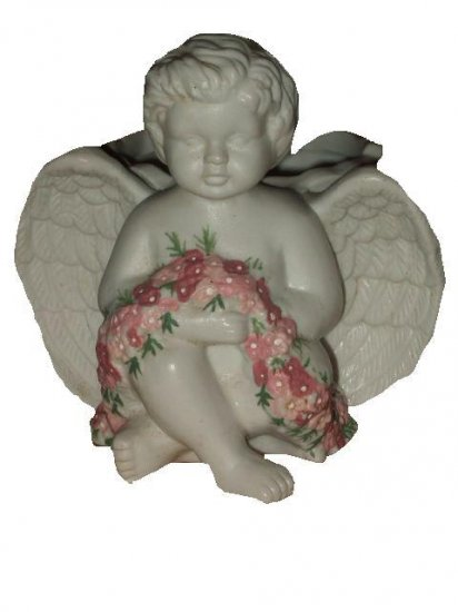 Bisque Cupid Angel Planter Ceramic