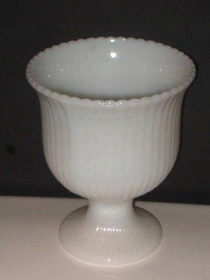 White Milk Glass Pedestal Vase EO Brody