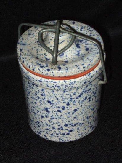Blue Speckled Stoneware Canister Metal Lock Lid