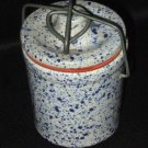 Blue Speckled Stoneware Canister Metal Lock Lid