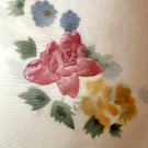 White Tablecloth Embroidered Flowers Floral Appliques
