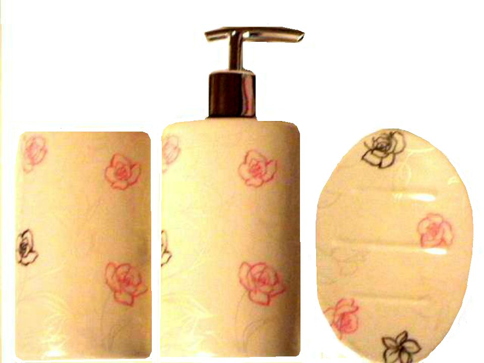 Shabby Roses Bath Accessories Set Soap Dish Tumbler Pump