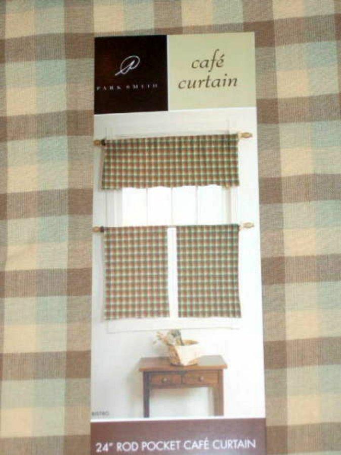 Park B. Smith Bistro Cream Plaid Cafe Curtains Panels