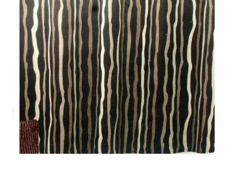 Black Striped Cream Brown Fabric Shower Curtain