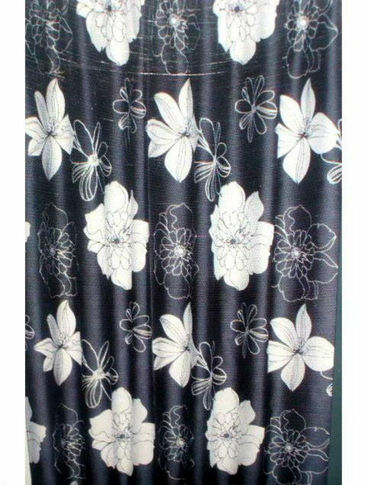 White Black Floral Fabric Shower Curtain