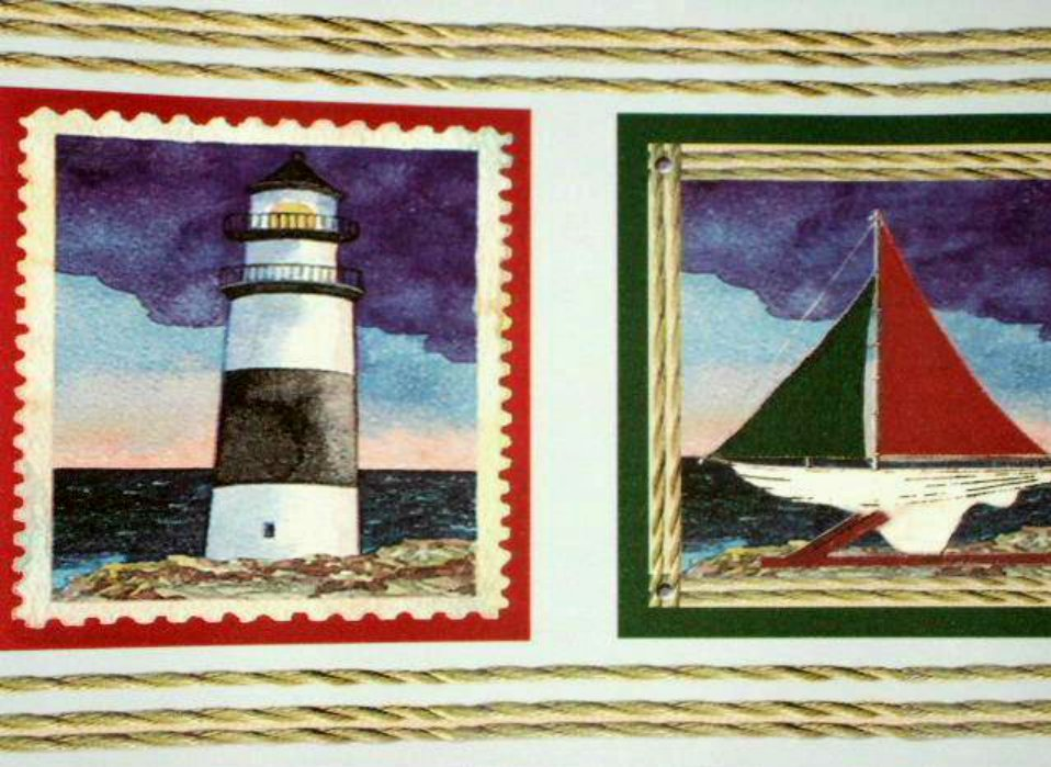 Nautical Beach Lighthouses Sailboats Wallpaper Wall Border