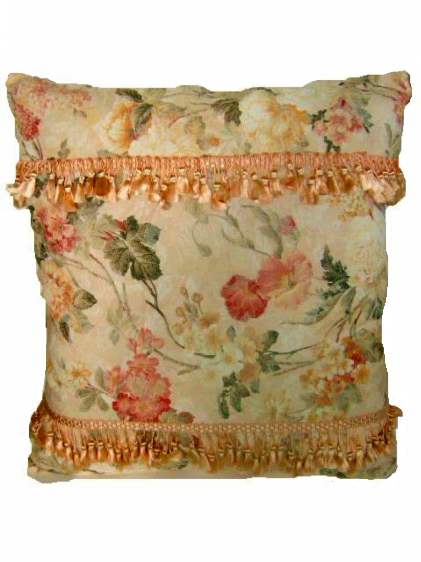 Hand Made Floral Pillow Peach Accents
