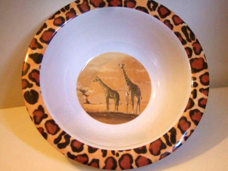 Salad Bowls African Safari Lion Leopard Zebra Giraffe