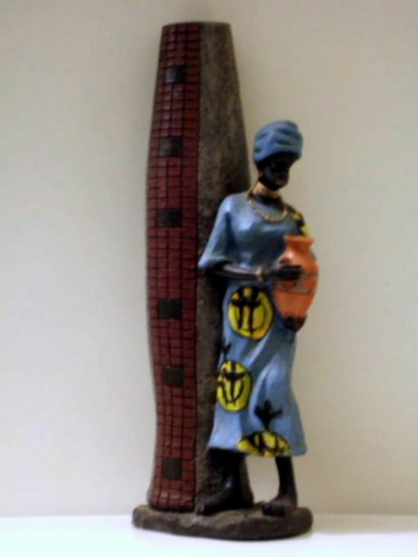 African Lady Figurine and Vase