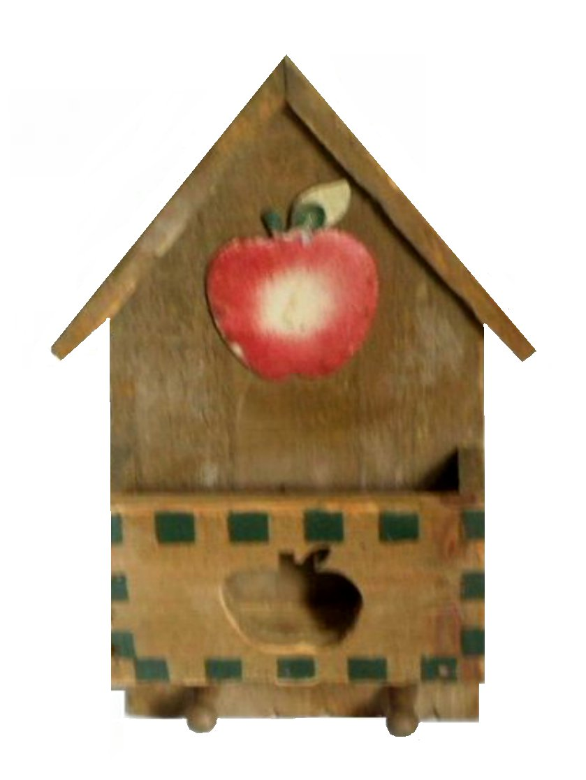 Rustic Country Apple Letter Holder Wall Rack with Hooks