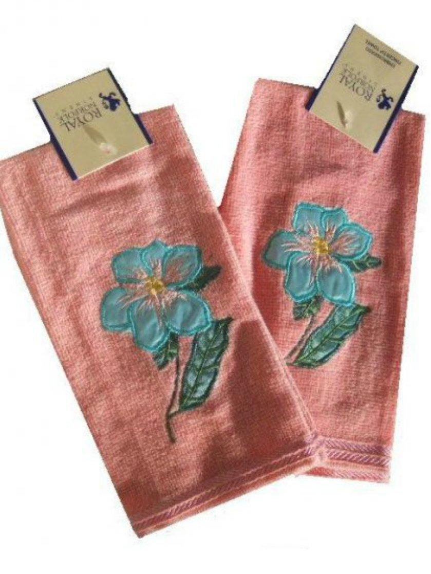 Floral Embroidered Finger Tip Towels Pink