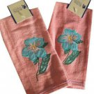 Floral Embroidered Finger Tip Towels Pink