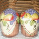 Grapes Pears Apples Salt and Pepper Shakers Basket of Fruit