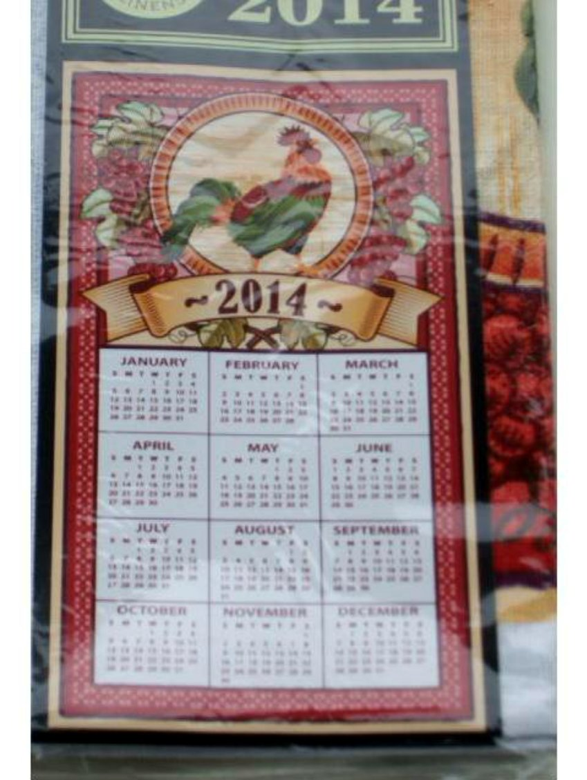 Rooster Grapes 2014 Calendar Kitchen Towel