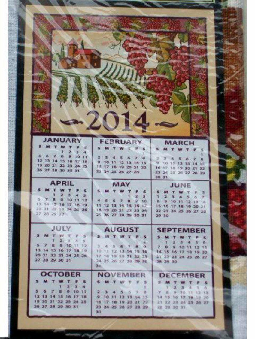 2014 Calendar Kitchen Towel Tuscan Grapes