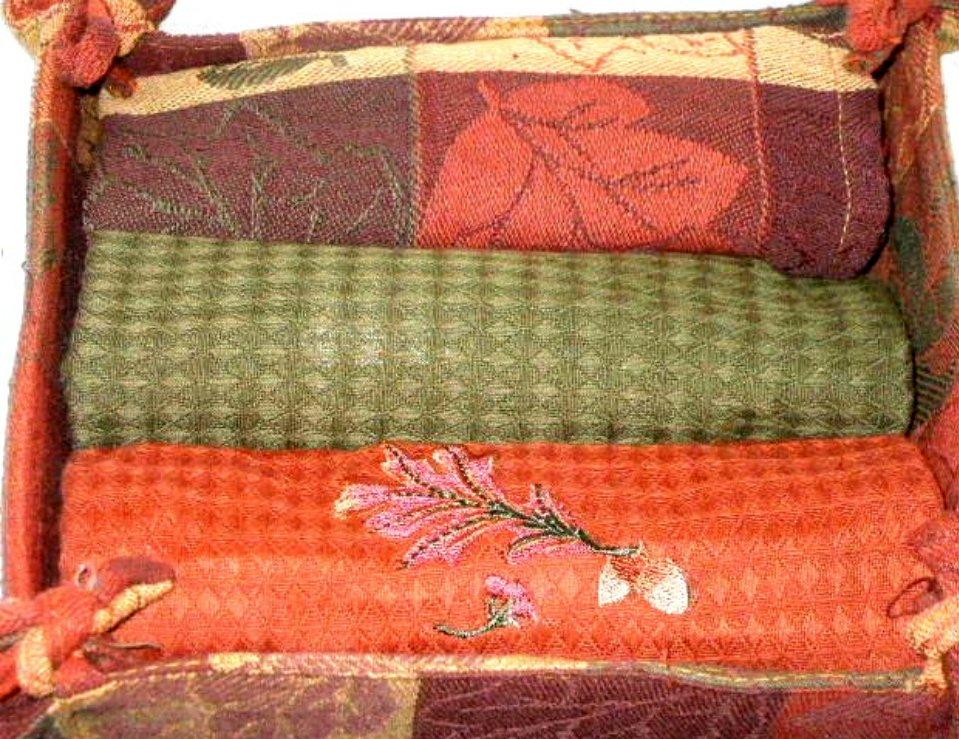 Fall Kitchen Towels Set Autumn Leaves Acorns