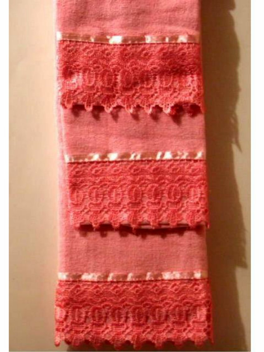 Pink Bath Towels Set Crocheted Lace