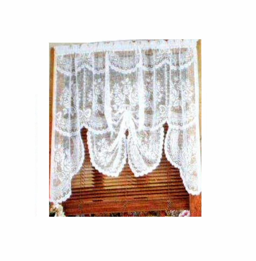 White Lace Valance Lacy Floral Curtain