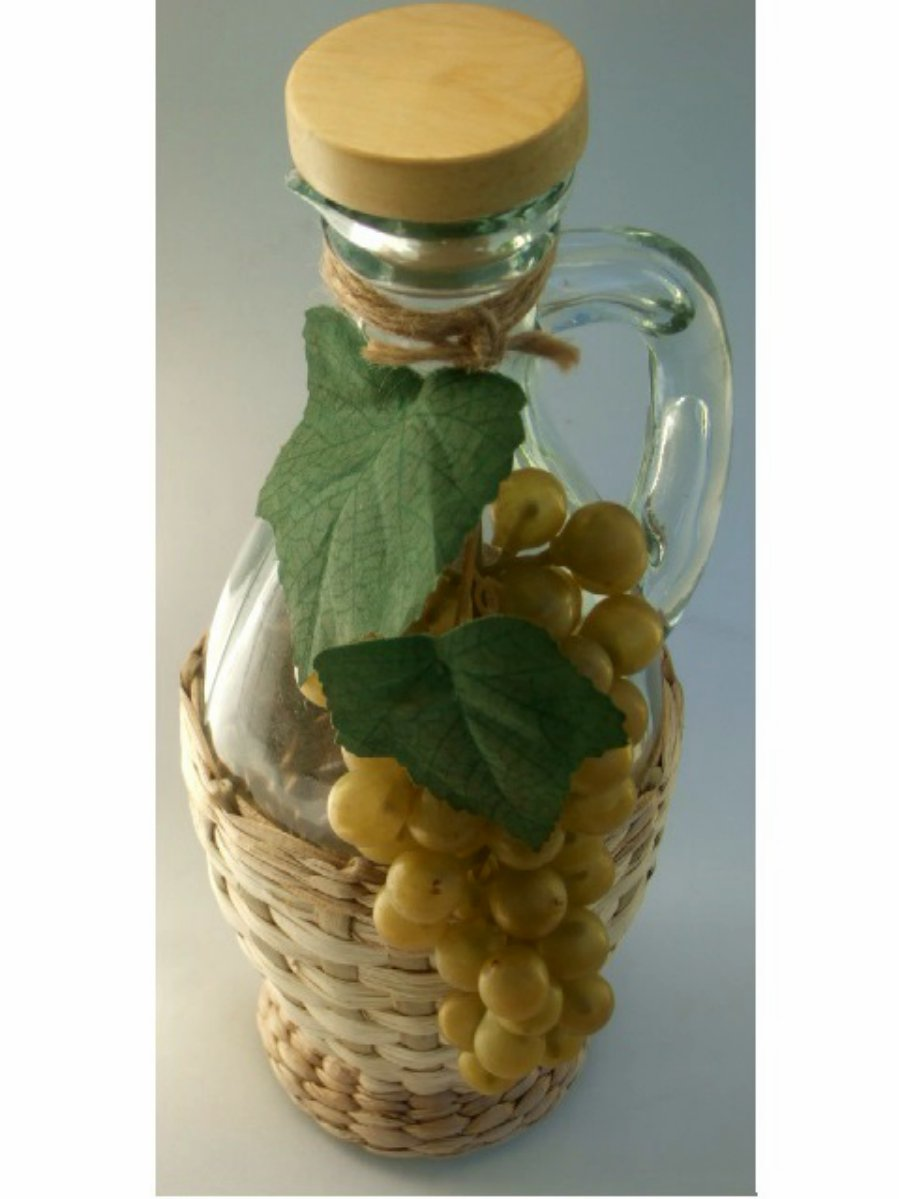 Tuscan Theme Oil or Vinegar Bottle with Grapes