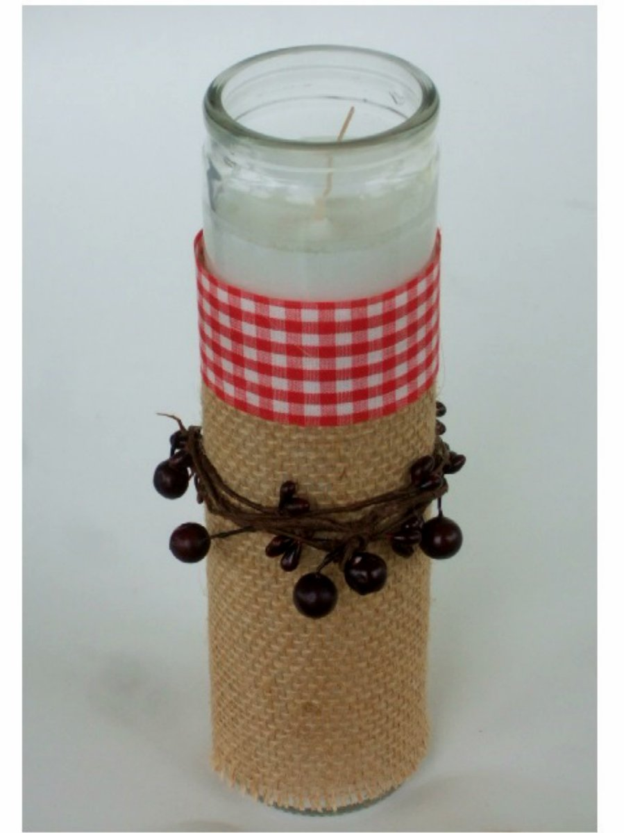 Country Primitive Pip Berries Glass Candle Holder with Candle