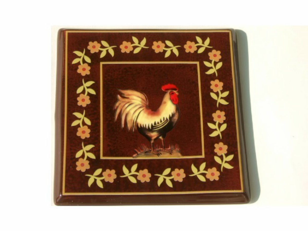 French Country Rooster Trivet Ceramic