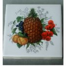 Ceramic Tile Fruit Coasters Set Grapes Pineapple Cherries
