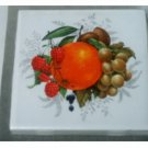 Ceramic Fruit Coasters Set Raspberries Orange Grapes