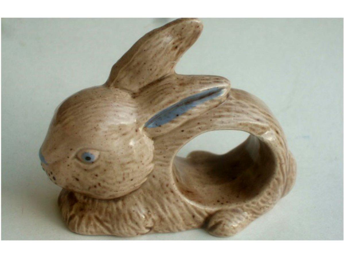 Bunny Rabbits Ceramic Napkin Holders Set