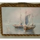 Nautical Ships Seagulls Painted Canvas over Wood Wall Art