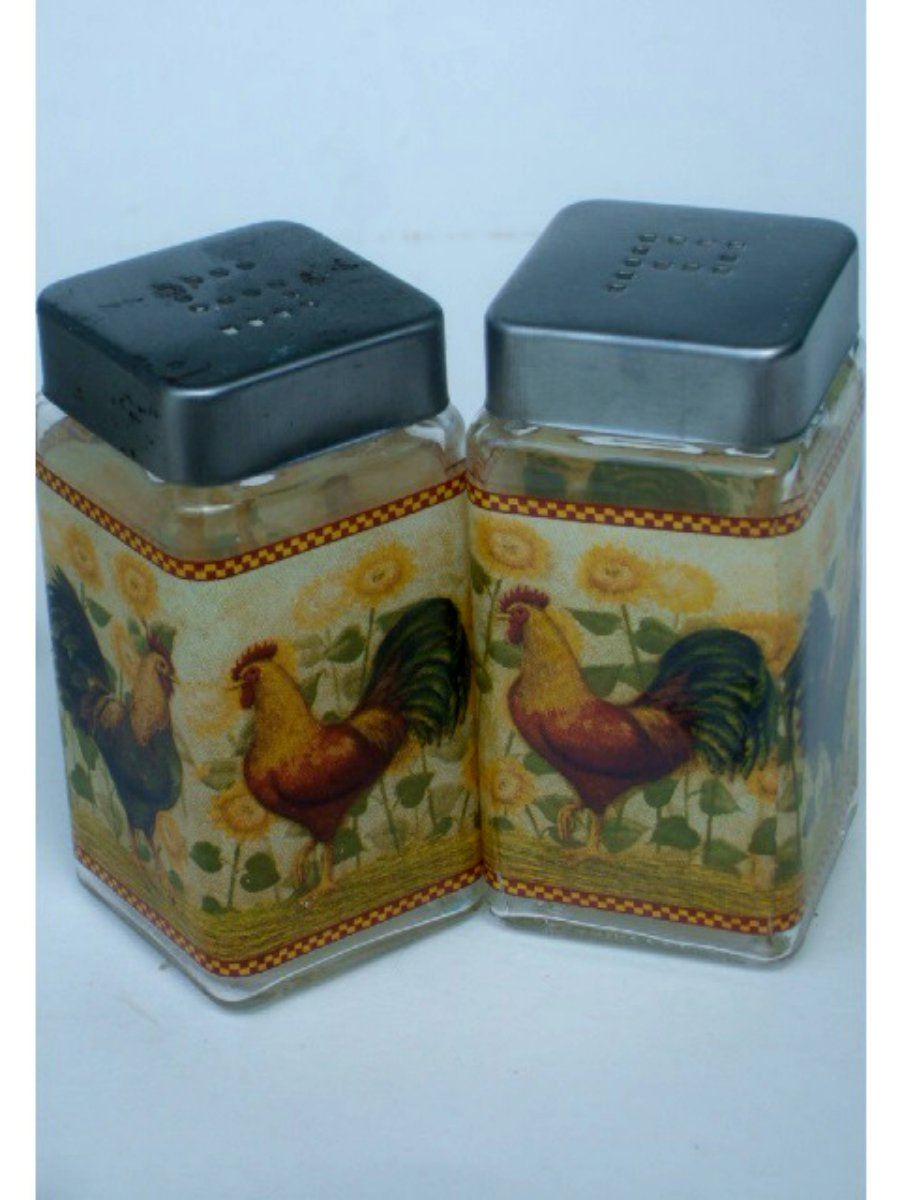 Glass Roosters And Sunflowers Salt Pepper Shakers Set