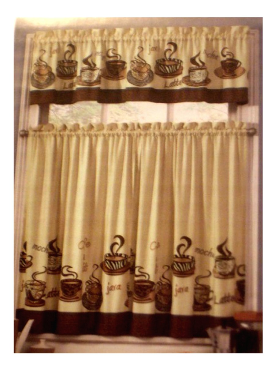coffee themed kitchen curtains tiers valance set - Coffee Themed Kitchen Decor