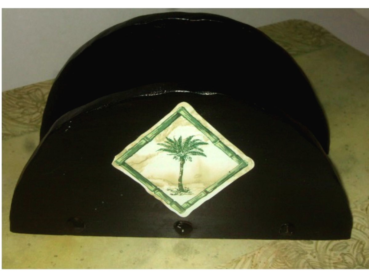 Tropical Palm Trees Black Wood Napkin Holder