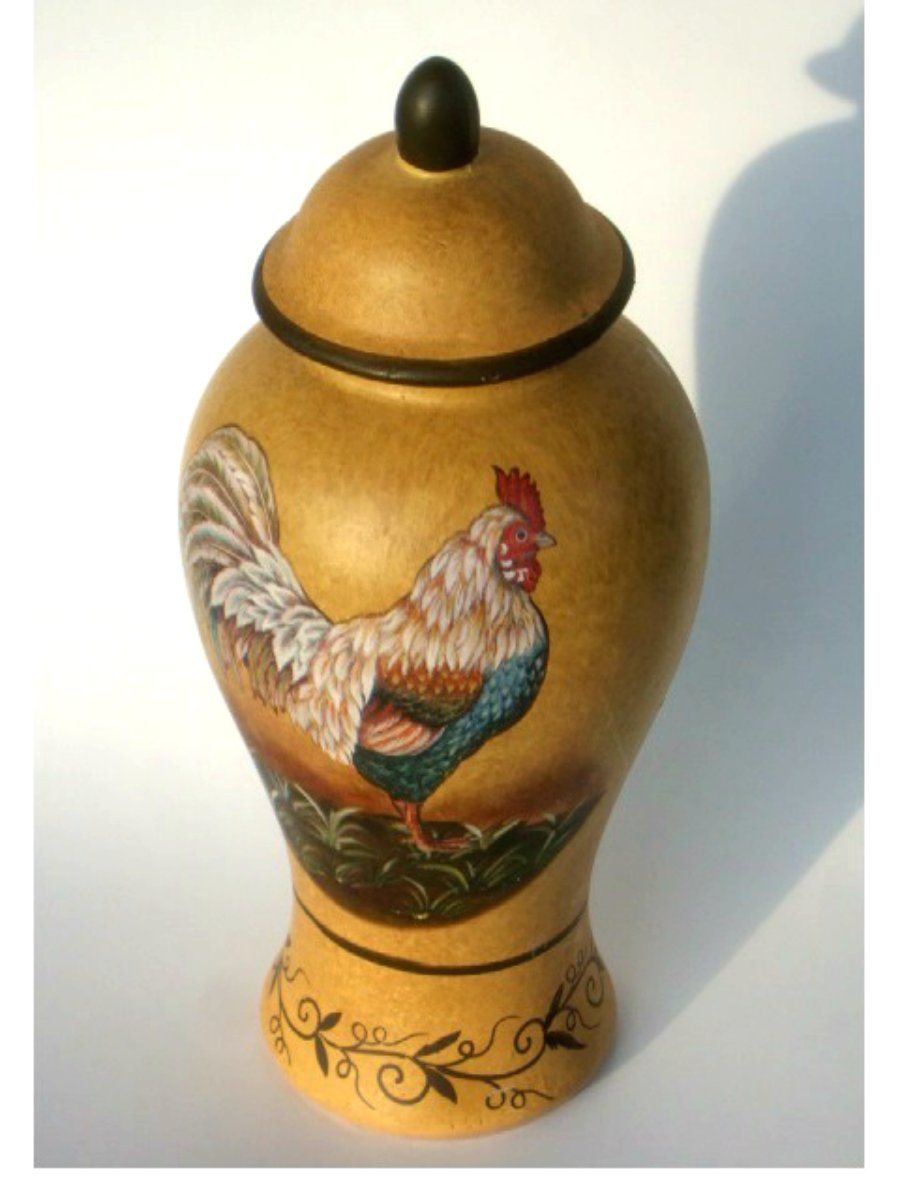 Country Rooster Ginger Jar with Lid