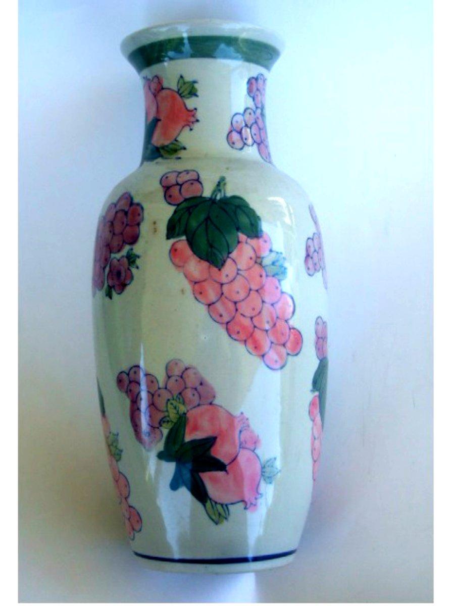 Fruit Themed Grapes Ceramic Vase