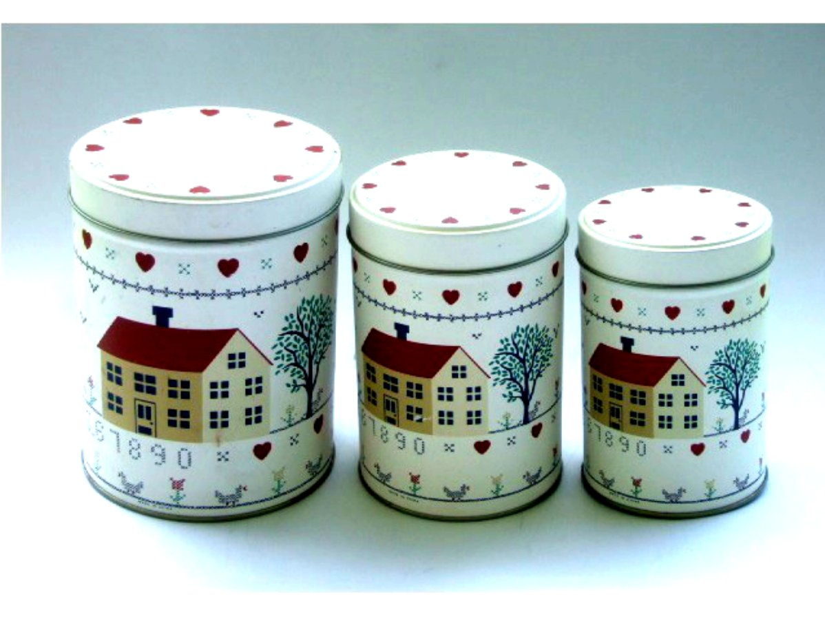 Country Primitive Metal Canister Set